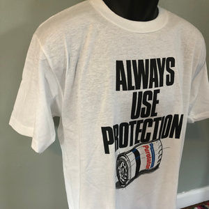 Vintage Shirts - 80s Always Use Protection Shirt Nascar Race Car